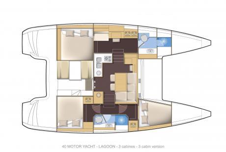 Lagoon 40 MY 3 cabin